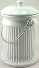 Ceramic Compost Pail - White