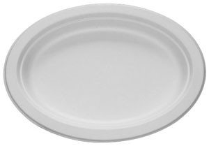 "Bagasse Dinner Platter 10"" Oval (pack of 50)"